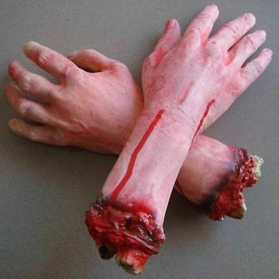 Bloody Hands (1Pair Bloody Horror Scary Halloween Prop Fake Severed Arm Hand Haunted House)