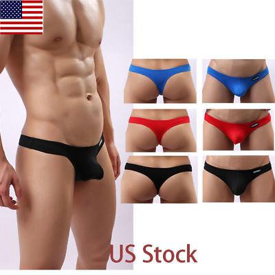 US STOCK Men's Low-rise Cotton String Bikini Underwear Briefs T-back Tanga Thong Cotton Low Rise Thongs