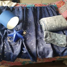 Boys bedroom bundle, curtains, pole, shade, wall light, fleece covers