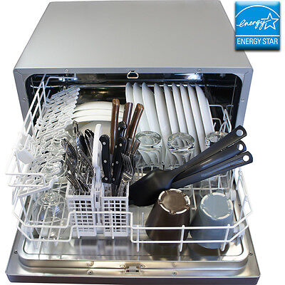 Details about Countertop Stainless Steel Silver Dishwasher, Portable ...