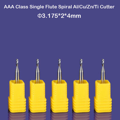 5pcs Aluminium Cutting Endmill Single Flute Cnc Router Bit 3.175mm 2mm 4mm