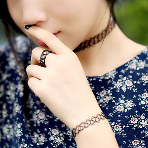 SET OF 3 PIECES! TATTOO CHOKER, RING AND BRACELET