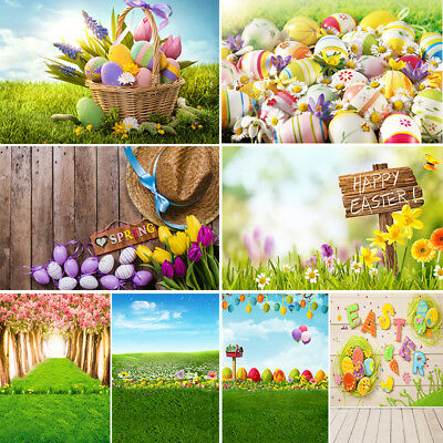 Easter Photography Backdrop Wooden Floor Spring Flowers Photo Background - Easter Photography Backdrops