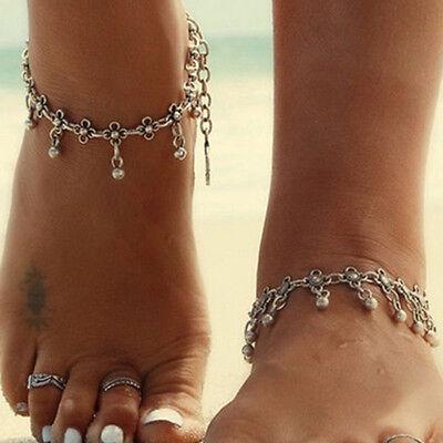 Frauen Gold Silber Überzogen Zehenring Knöchel Armband Kette Fuß Schmuck  JZ