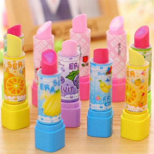 2pcs Distinct Lipstick Shape Style Fruit Scent Multicolor Rubber Pencil Eraser