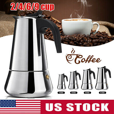 Coffee Espresso Pot Maker Moka Stove Top Cup 2/4/6/9 Latte Stainless Steel (4 Cup Stovetop Espresso Machine)