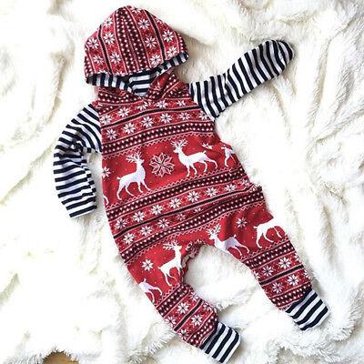 Christmas Boys (Christmas Baby Boys Girls Clothes Hooded Hoodies Jumpsuit Romper Bodysuit)