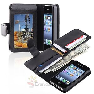 Black Leather Wallet Flip Pouch Case Cover Accessory For Apple iPhone 4 4G 4S