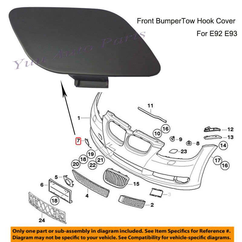 For BMW E92 E93 3-Series 06-09 328i 335i Genuine Rear Bumper Tow Hook Eye Covers