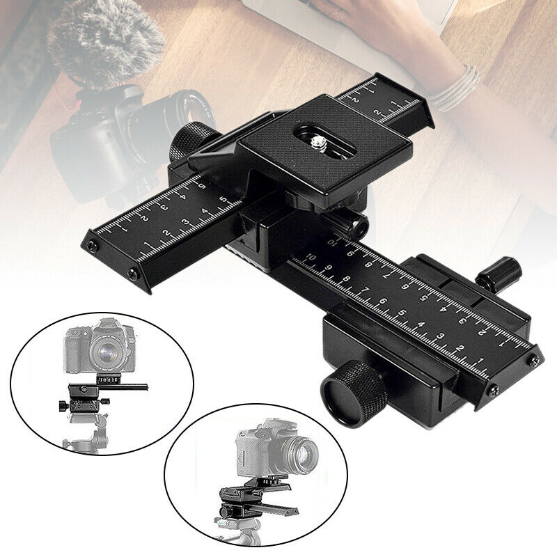Portable 4-Way Macro Sliding Focus Focusing Rail Slider Camera Tripod Bracket