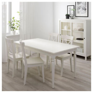 IKEA Ingatorp French White Dining Table, Extendable
