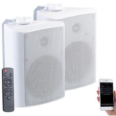 auvisio Aktiv-Multiroom-Stereo-Außen-Lautsprecher, WLAN, Bluetooth, 120W, IP55