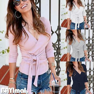 Womens Sexy V Neck Belted T Shirt Ladies Casual Slim Fit Long Sleeve Blouse Tops