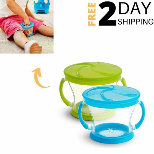 Toddler Snack Catcher Containers Spill Proof Lid Snack Car Cup Holder Blue Green