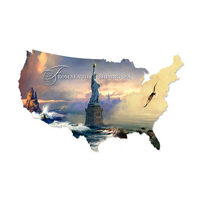 "United States USA US Americana Patriotic Map Outline Steel Metal Sign 25"" x 16"""