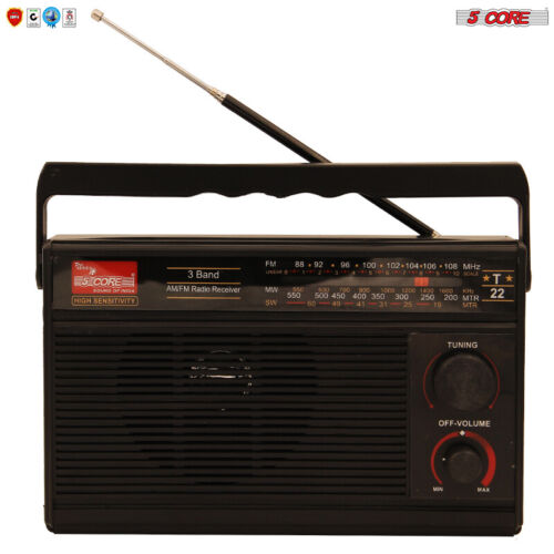 5Core ORIGINAL FM TRANSISTOR RADIO AM/FM 3 Band PORTABLE Vintage POWERED TC-22