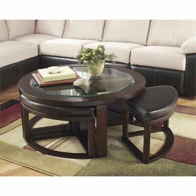 Ashley Furniture Marion Coffee Table with 4 Stools in Dark Brown Dark Brown Cocktail Table