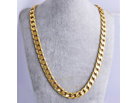 60cm x 7mm Chinese Yellow Gold Filled Men's - Ladies Flat Chain Necklace - NEW