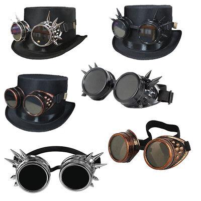 Gotisch Steampunk Zylinder Top Hut mit Schutzbrille Für Halloween Party Karneval