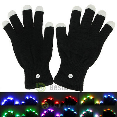One Pair LED Rave Flashing Gloves Glow 7 Mode Light Up Finger Lighting Black New](Finger Light Gloves)