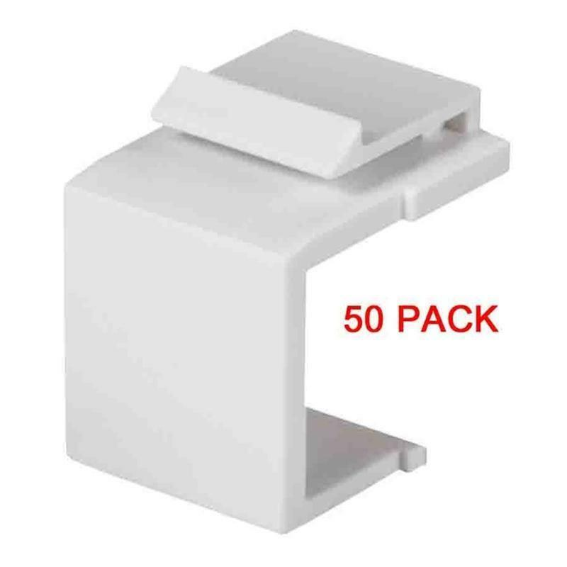 White Snap-In Keystone for Blank Insert Face Wall Plate/Panels Flat Plug (50/pk)