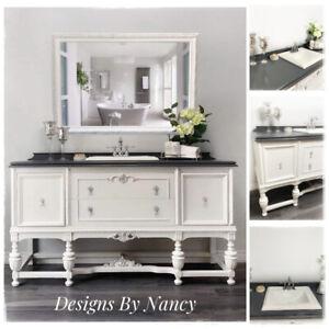 1930's Jacobean Style Solid Wood Bathroom Vanity & Mirror!