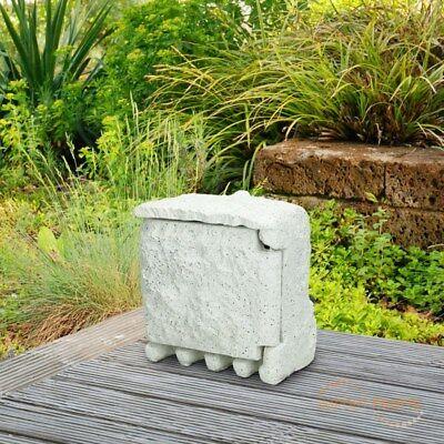 Gartensteckdose Außensteckdose 1,5 M Steckdose 4-fach Steinsteckdose Hellgrau