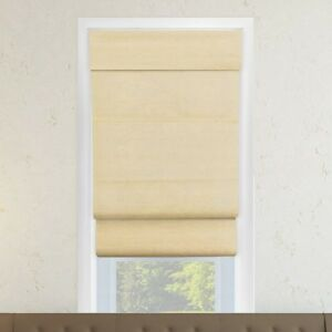 Chicology Cordless Double Layered Roman Shade, Cotton Sandstone