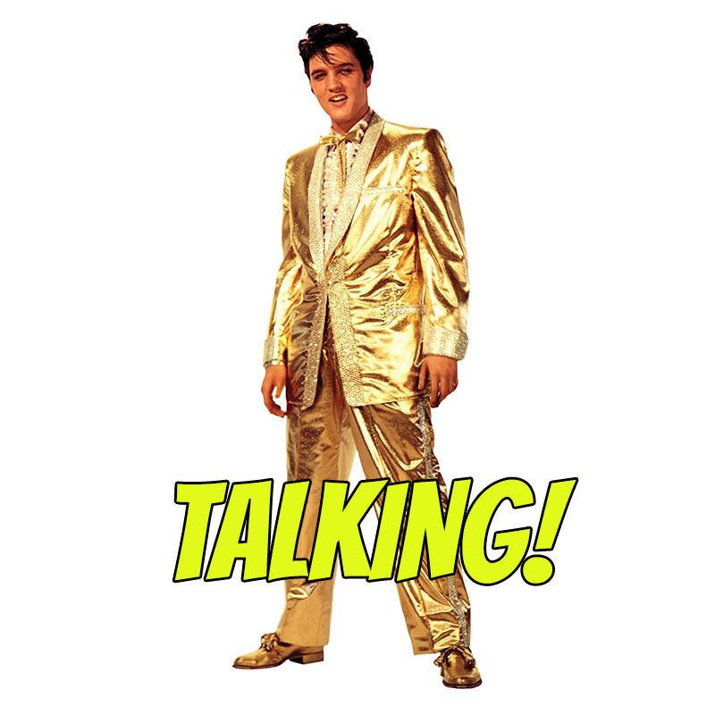 ELVIS PRESLEY TALKING Gold Lame Suit Lifesize CARDBOARD CUTOUT Standup Standee