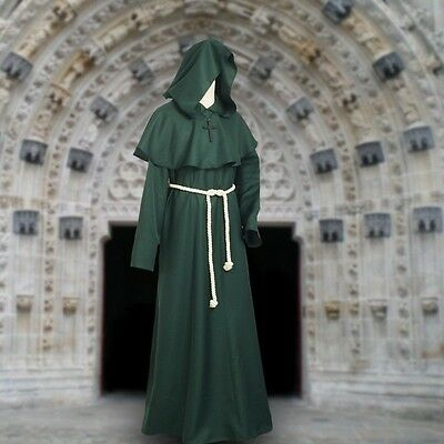 Green Friar Medieval Cowl Hooded Monk Cowl Renaisance Cosplay Outfit Costumes](Renaisance Costume)