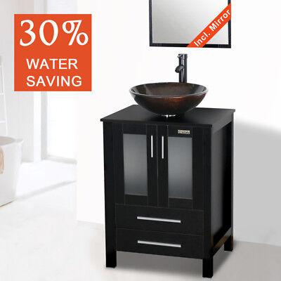"""24"""" Bathroom Vanity Single W/Top Wood Glass Vessel Sink Fauc"""