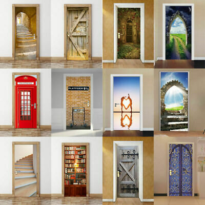 3D Door Wall Sticker Fridge Self Adhesive Art Mural Decal Different Styles Decor](Door Decorate)