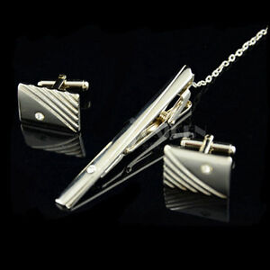 Mens Polished Stainless Tie Clips Cufflinks Set - New