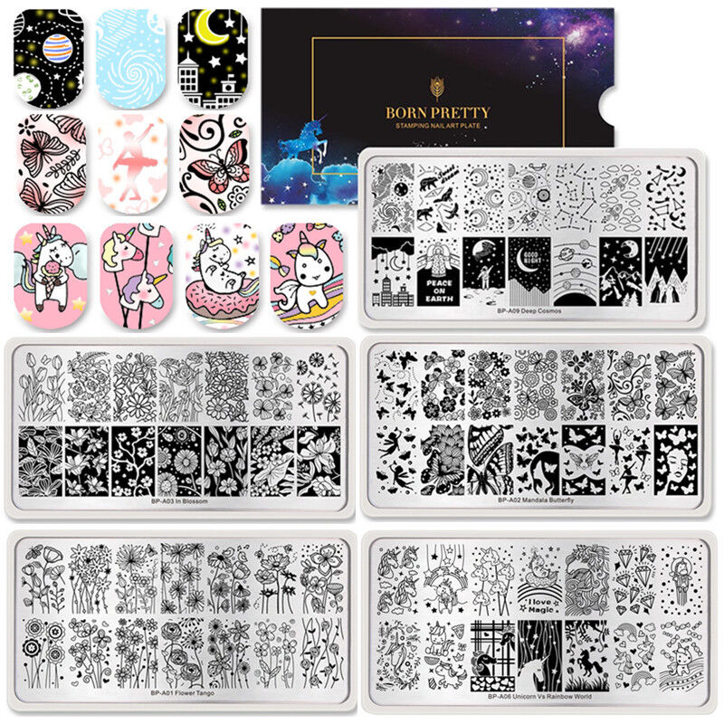 BORN PRETTY Nail Art Stamping Plates  Flower Butterfly Image