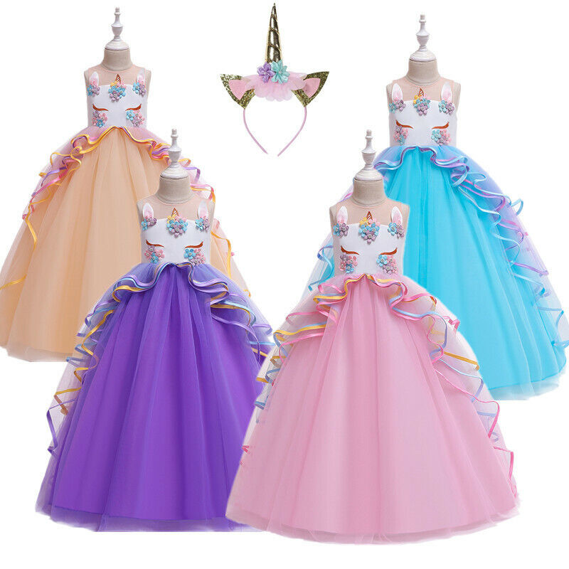 Kids unicorn princess Party Gown flower girl Dress birthday