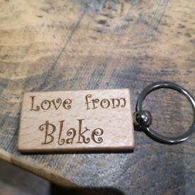 Wood keyring personalised