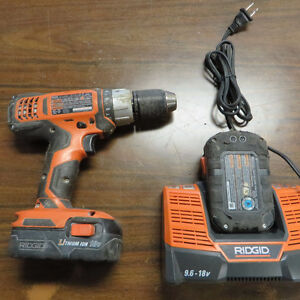 Ridgid 18V Compact Lithium-ion Drill R86006 2 Batteries+Charger