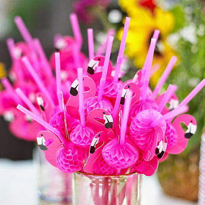 12 x Hawaiian Beach Party 3D Pink Flamingo Cocktail Drinking Straws Set QR02