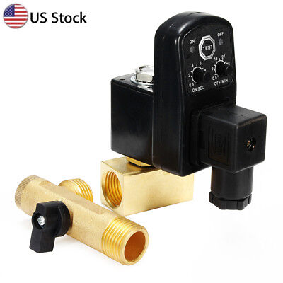 "AC 110V 1/2"" Electronic Timed 2 way Air Compressor Gas Tank Auto Drain Valve US"