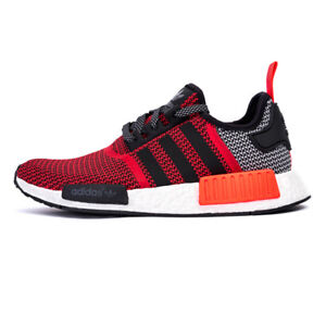 ADIDAS NMD R1 Black Lush Red Sport Sneakers Size 8.5-NEW IN BOX