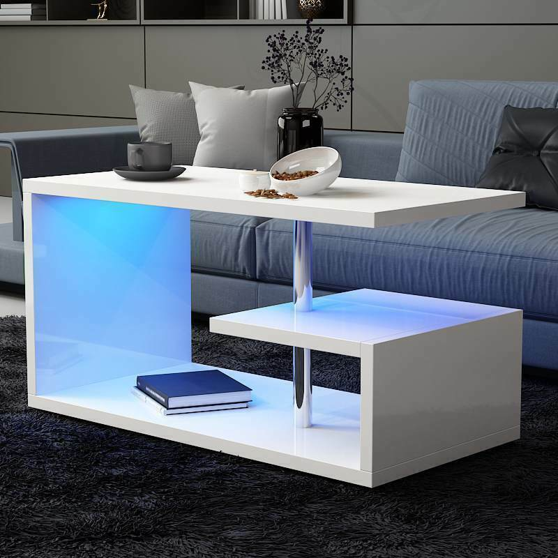 Marvelous Details About 100Cm White Wooden Coffee Table Led Light Shelf Storage Living Room Furniture Uk Home Remodeling Inspirations Cosmcuboardxyz