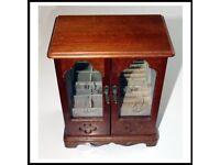 Vintage Miniature Roll Top Wooden Bureau Jewellery Box Mid 20th Century with mirror.