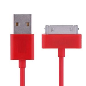 USB Sync Data Charging Cable for iPhone iPad iPod - 3Ft - Red