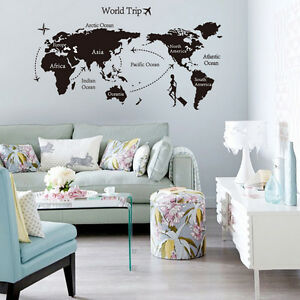 carte du monde sticker muraux voyage autocollant d coration murale chambre salon ebay. Black Bedroom Furniture Sets. Home Design Ideas