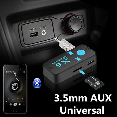 Portable Wireless Bluetooth 3.5mm AUX Audio Stereo Car Receiver Adapter Mic