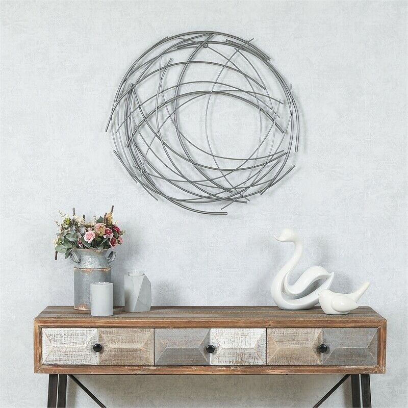 Abstract Iron Sticks Round Wall Art in Silver
