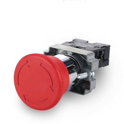 1pcs Push Button Switch Red Mushroom Emergency Stop 22mm Mounting Normal Closed