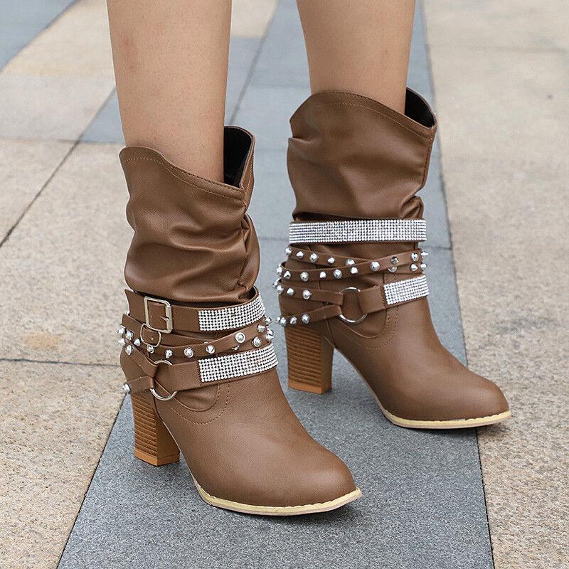 Damen Paillette Blockabsatz Stiefel Schnalle Boots Stiefeletten Pumps Schuhe DE