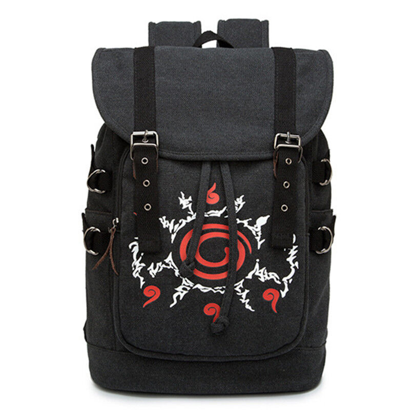 Naruto Sharingan Seal Four Symbol Canvas Backpack Drawstring Laptop Bag Rucksack
