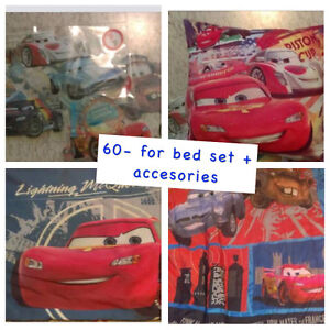 Cars bedding, wall stickers , curtains , & decor pillow